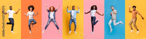 Obraz Collage of cheerful jumping multinational people in air on color background, panorama - fototapety do salonu