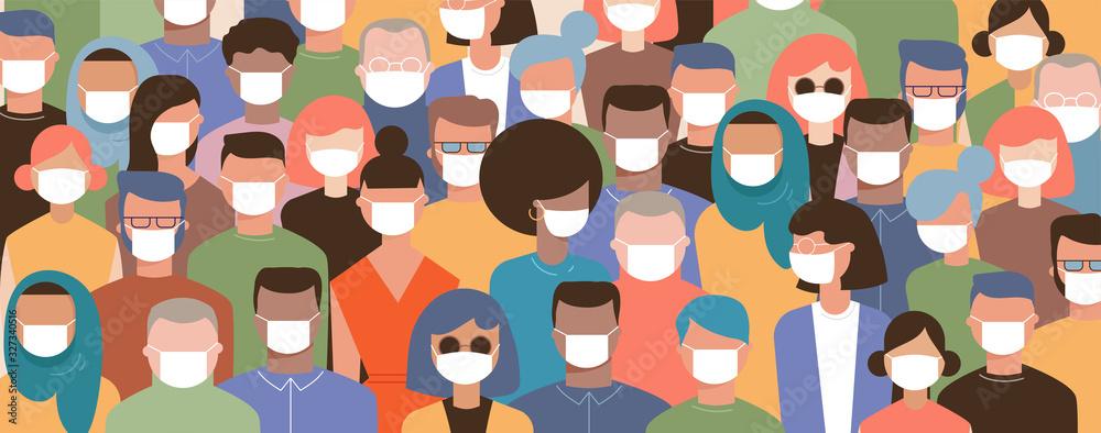 Fototapeta Crowd on the street wearing masks to prevent disease, coronavirus, flu, air pollution, contaminated air, world pollution. Vector illustration