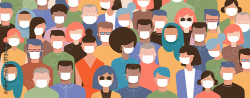 Obraz Crowd on the street wearing masks to prevent disease, coronavirus, flu, air pollution, contaminated air, world pollution. Vector illustration  - fototapety do salonu
