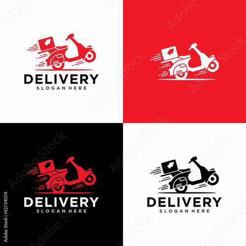 Foto express delivery logo icon vector template with scooter bike box