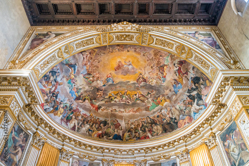 Frescoed apse with The Glory of Heaven in the Santi Quattro Coronati Basilica in Rome, Italy Canvas Print