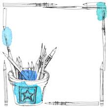 Art Frame With Pencils, Brushe...
