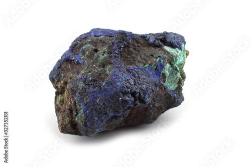 Raw azurite malachite mineral isolated on white Canvas Print
