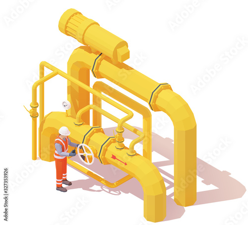 Photo Vector isometric gas or oil production operator opens pipe valve