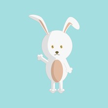 Cute Cartoon Rabbit With Stand...