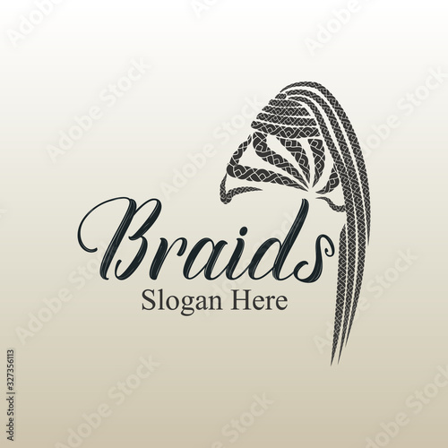Valokuva Braids hair style logo design for girls