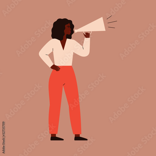 A young woman speaks into a megaphone Wallpaper Mural