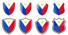 Vertical Philippines Flag In Shield Shape, Four 3d And Simple Versions. Filipino Icon / Sign