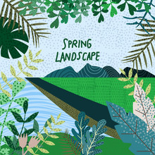 Spring Nature. Cute Vector Ill...