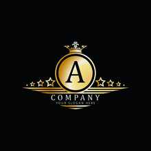 A Luxury Badge Logo Golden Wit...