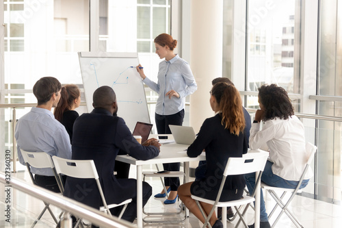 Young female employee with flip chart at presentation. Wallpaper Mural