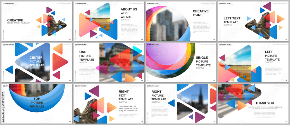Fototapeta Presentation design vector templates, multipurpose template for presentation slide, flyer, brochure cover design, infographic. Colorful design background for professional business agency portfolio. - obraz na płótnie
