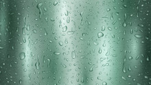 Background With Drops And Streaks Of Water In Turquoise Colors, Flowing Down The Metal Surface