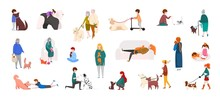 People With Pets. Diverse Cartoon Characters Walking, Playing And Running With Cats And Dogs. Vector Isolated Domestic Animals And People Outdoors Set