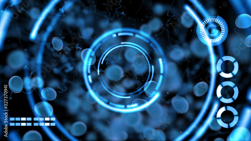 Photo 3D blood cells particle, virus outbreak antibody vaccine medical healthcare concept with HUD screen futuristic technology