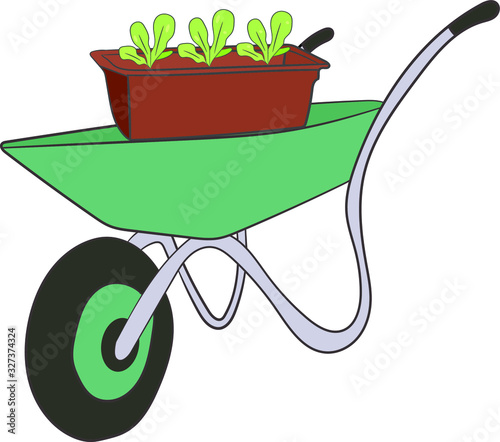 Photo Garden cart with seedlings on a white background