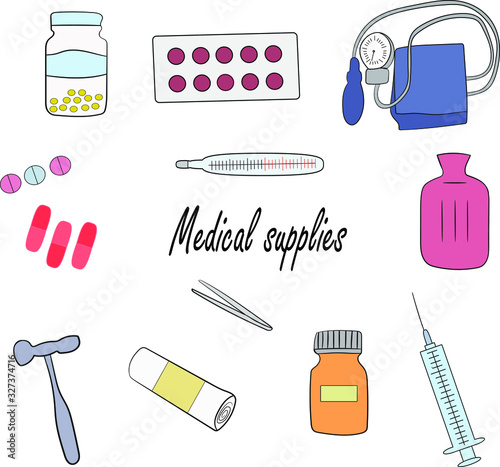 A medical supplies, set on a white background Canvas Print
