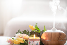 Aroma Oil Diffuser Lamp On The...