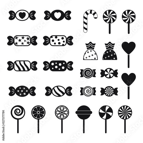 Photographie Candy and lollipop icon, vector set on white background