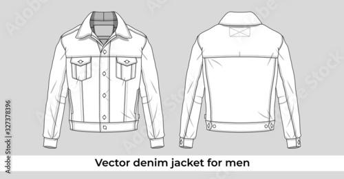 Vector denim jacket template for men