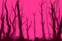 Vector Pink Creepy Forest Illu...