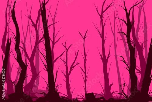 Vector pink creepy forest illustration Fototapet