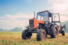 Old Tractor Fertilizes In The ...
