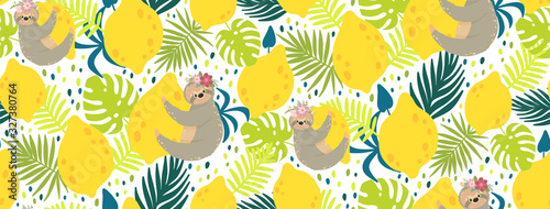 Cute sloths on the yellow lemons surrounded by tropical leaves Canvas-taulu