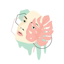 Woman Face Mask Pastel Minimalist Art Collage Vector Graphic Illustration. Abstract Contemporary Fashion Female Facial With Geometric Shapes Covered By Watercolor Leaf Isolated On White Background