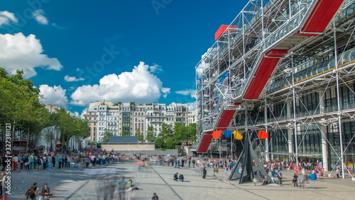 Facade of the Centre of Georges Pompidou timelapse in Paris, France Fototapeta