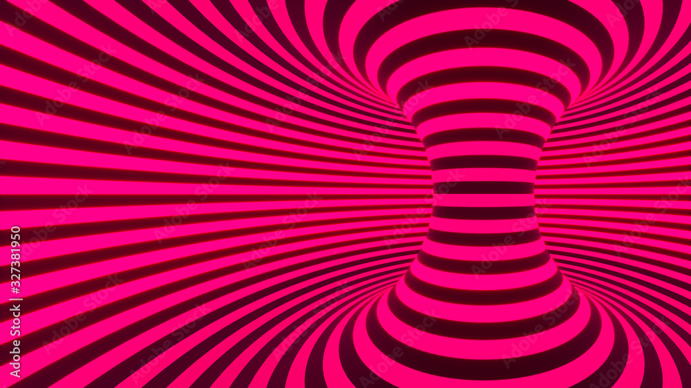 Color neon glowing twisted curved lines forming torus horizontal background, optical illusion. 3d render illustration <span>plik: #327381950 | autor: Nikolay E</span>