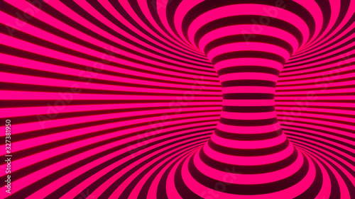 Color neon glowing twisted curved lines forming torus horizontal background, optical illusion. 3d render illustration