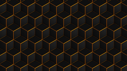 Panel Szklany Nowoczesny Isometric cubes black with gold seamless pattern. 3D render cubes background