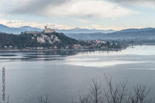 View of Angera with Angera Fortress Fototapeta