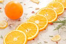Fresh Orange Slices On A Light...