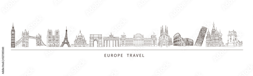 Fototapeta City travel landmarks, tourist attraction in various places of Europe. Tourism illustration.
