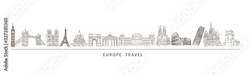 City travel landmarks, tourist attraction in various places of Europe. Tourism illustration.