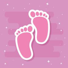 Cute Footprints Baby In Pink B...
