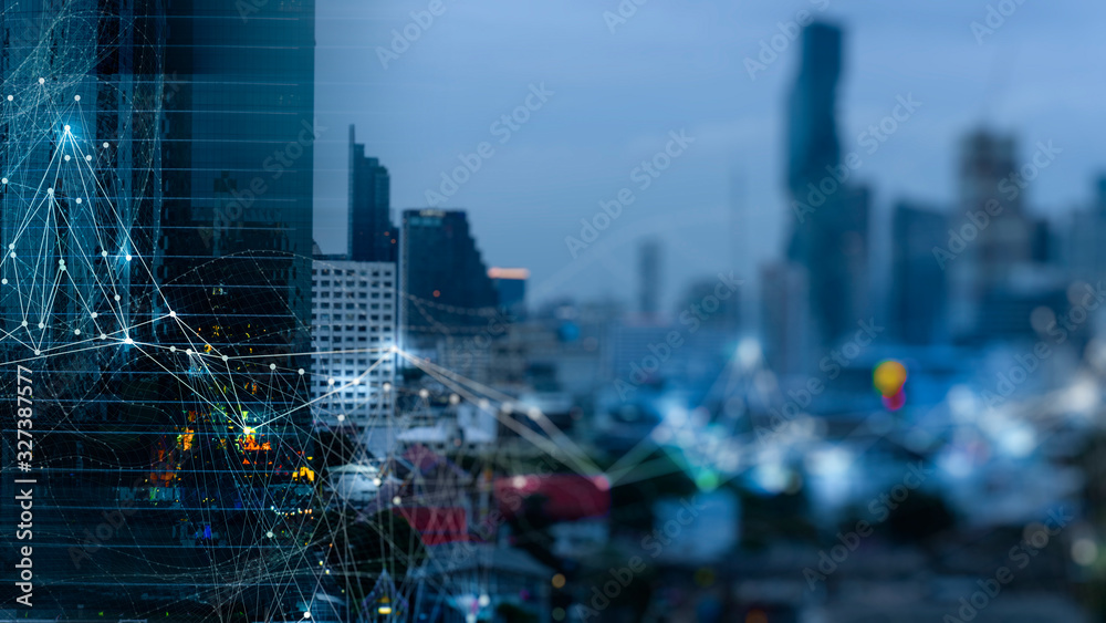 Fototapeta Wireless network and Connection technology concept with Abstract buildings and city background