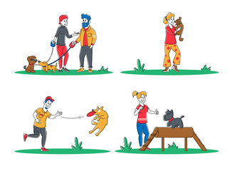 Set of People Spend Time with Pets Outdoors. Characters Walking and Playing with Dogs, Relaxing Open Air. Leisure, Communication Love, Care of Animals. Cartoon Flat Vector Illustration, Line Art