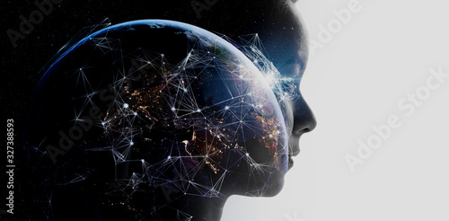 Photo Double exposure of business woman with The World of Futuristic internet communication concept