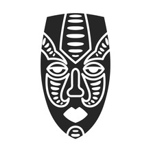African Mask Vector Icon.Black...