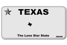 Texas Usa Car License Number Plate Vector
