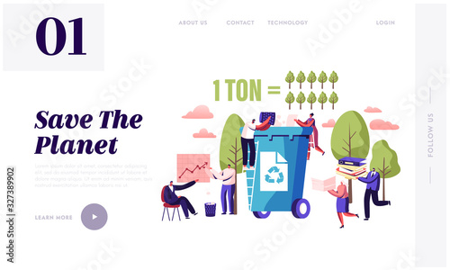 Fotomural Less Paper Using, Stop Deforestation and Trees Cutting Website Landing Page