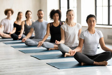 Multiethnic People Meditating Seated In Lotus Position During Yoga Session
