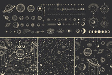 Vector Illustration Set Of Moon Phases. Different Stages Of Moonlight Activity In Vintage Engraving Style. Zodiac Signs