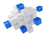 Blue Cubes From Heap Of White ...