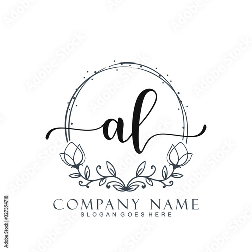Photo Initial AL beauty monogram and elegant logo design, handwriting logo of initial signature, wedding, fashion, floral and botanical logo concept design
