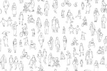 Crowd Of People Vector Illustration . Group Of Male And Female Adult And Children On White Background