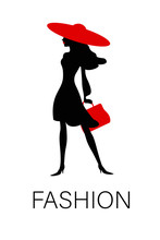 Vector Silhouette Of An Elegant Fashion Woman With Red Hat